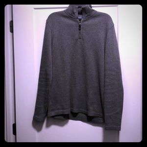 Gray Pullover Sweater with Quarter-Zip